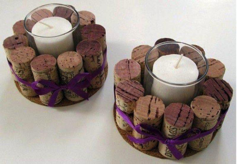 crea porta candele con tappi di sughero